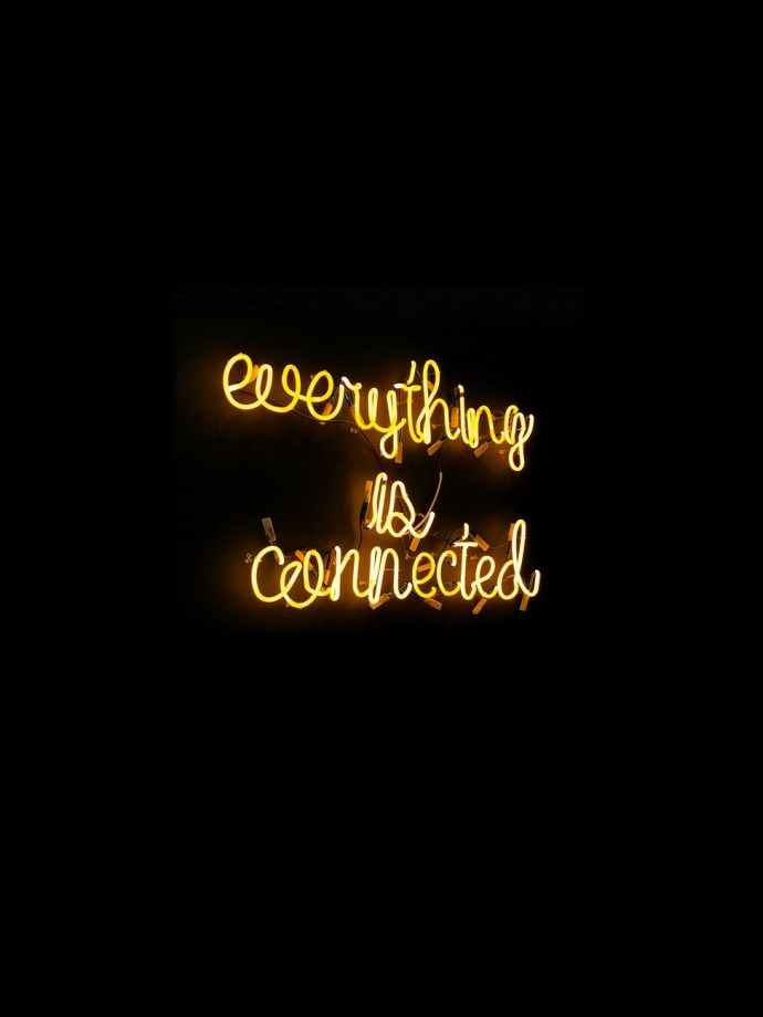 everything is connected neon light signage
